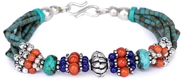 Bracelet with Coral, Lapis Lazuli and Turquoise