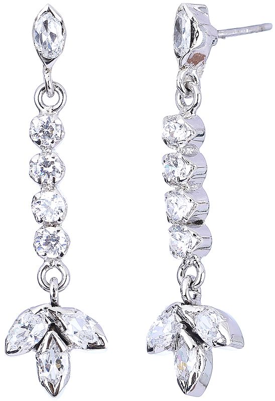 Sterling Silver Dangling Earrings with Cubic Zirconia