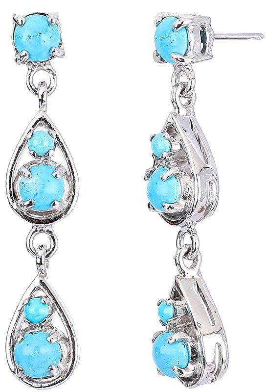 Faceted Sterling Silver Teardrop Dangling Earrings