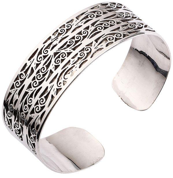 Intricate Jali Cut Cuff Bracelet from Nepal (Adjustable Size)