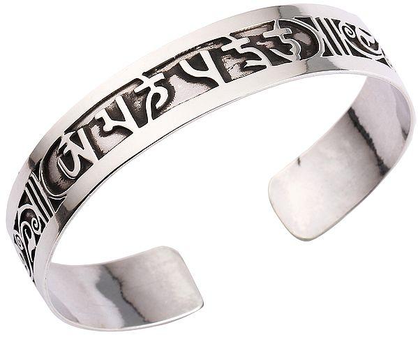 Om Mani Padme Hum Cuff Bracelet (Adjustable Size)