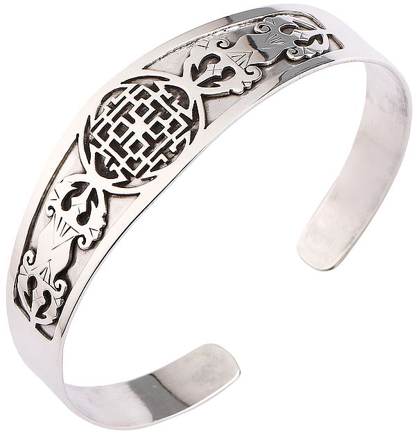 Double Dorje Cuff Bracelet with Infinity Knot from  Nepal (Adjustable Size)