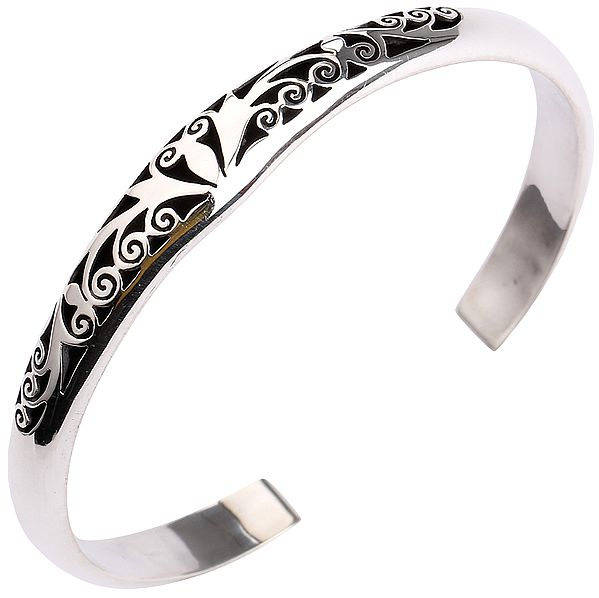 Sterling Silver Cuff Bracelet with Jali Work from Nepal (Adjustable Size)