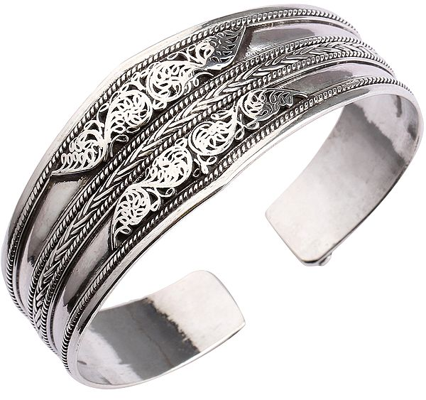 Filigree Cuff  Bracelet from Nepal with Rope Design (Adjustable Size)