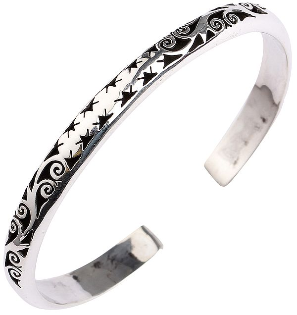 Sterling Silver Cuff Bracelet with Jali (Lattice) Work from Nepal (Adjustable Size)