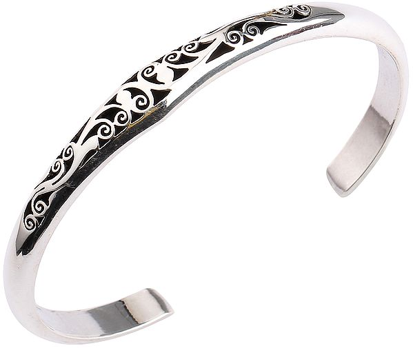 Sterling Silver Designer Cuff Bracelet from Nepal (Adjustable Size)
