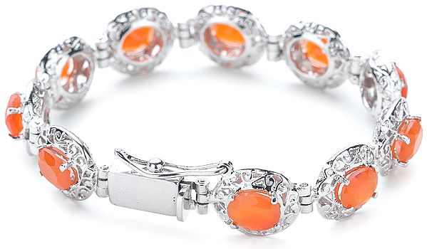 Superfine Silver Chain Bracelet with Oval-Cut Faceted Fanta-Garnet Stones