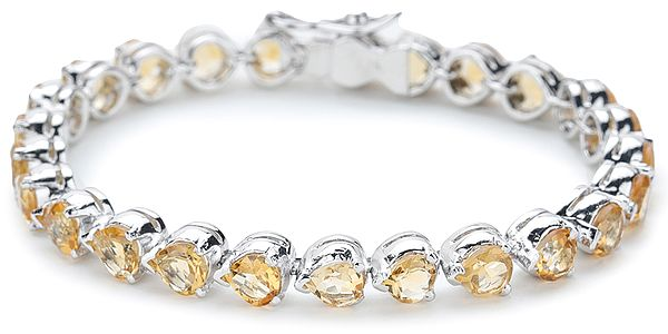 Superfine Silver Chain Bracelet with Pear-Cut Faceted Citrine Stones