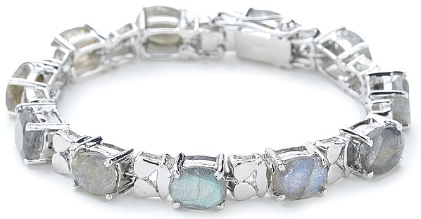 Superfine Silver Chain Bracelet with Oval-Cut Faceted Labradorite Stones