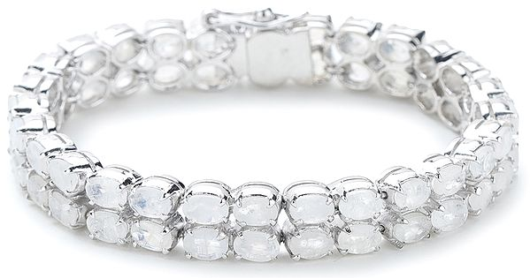 Superfine Silver Chain Bracelet with Round-Cut Faceted Rainbow Moonstones