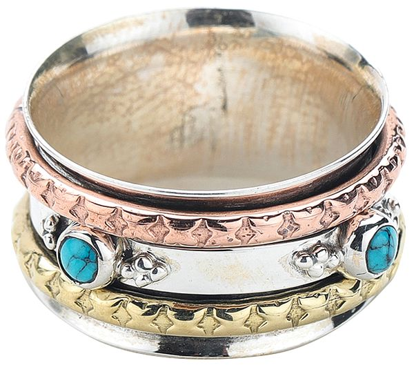 Sterling Silver Three Tone Meditation Spinner Ring with Turquoise Stones