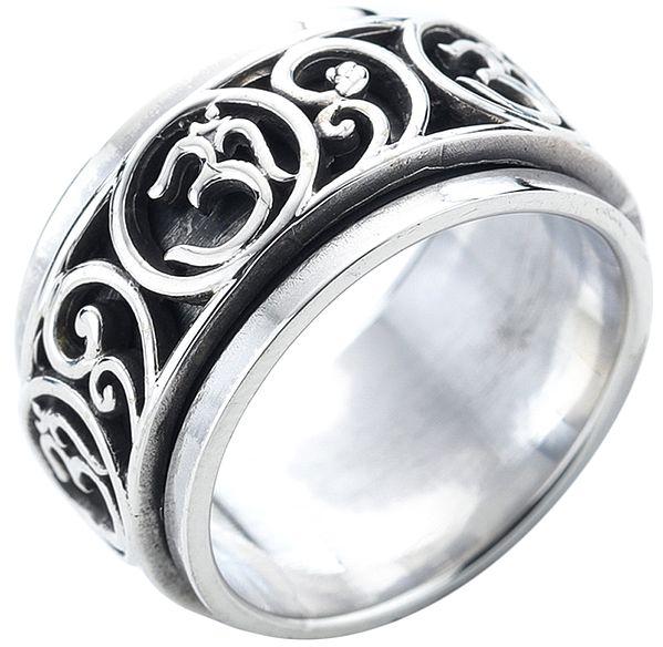 OM (AUM) Sterling Silver Meditation Spinner Ring