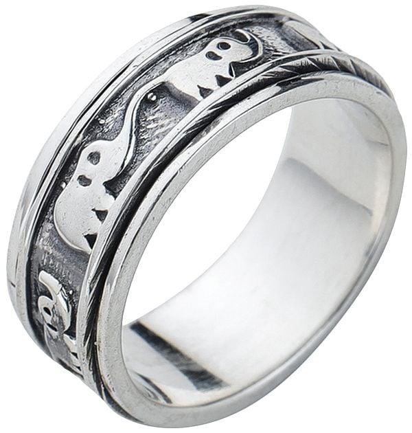 Elephants Sterling Silver Meditation Spinner Ring