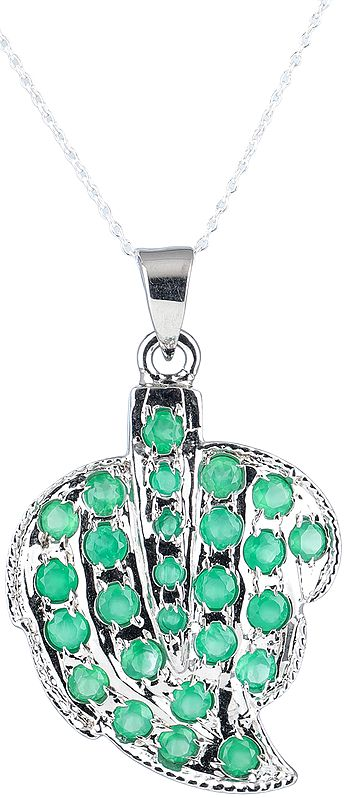 Leaf Shapped Sterling Silver Pendant with Faceted Gemstones