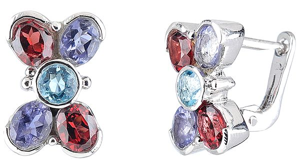 Sterling Silver Tops Studded with Faceted Iolite, Garnet and Blue-Topaz Gemstones