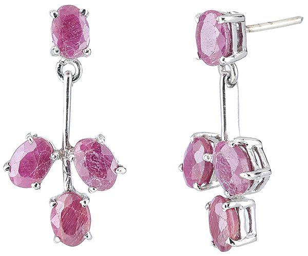 Sterling Silver Earrings Studded with Faceted Ruby Gemstones