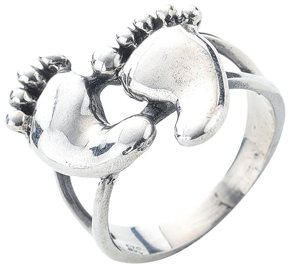 Lord Krishna's Feet Sterling Silver Ring