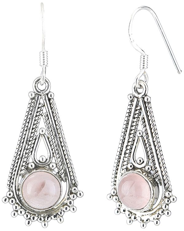 Sterling Silver Dangling Earrings Studded with Pearls