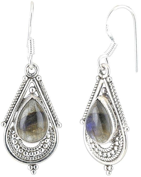 Labradorite Studded Sterling Silver Tear-Drop Earrings