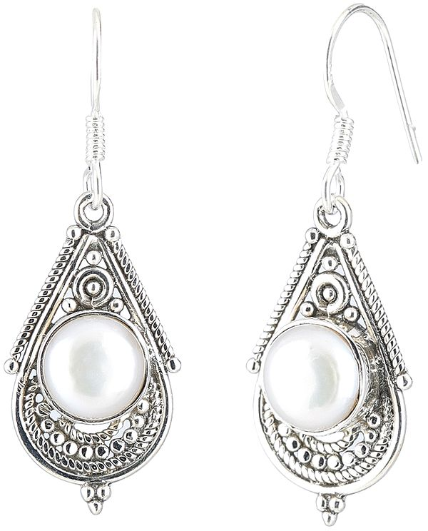 Pearl Studded Sterling Silver Earrings