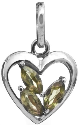 Sterling Heart-Shape Pendant with Faceted Gems - Sterling Silver