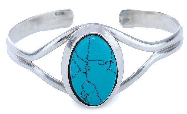 Sterling Silver Bracelet with Oval Turquoise Gemstone (Adjustable Size)