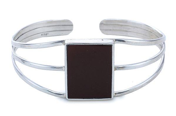 Sterling Silver Bracelet with Carnelian Gemstone (Adjustable Size)