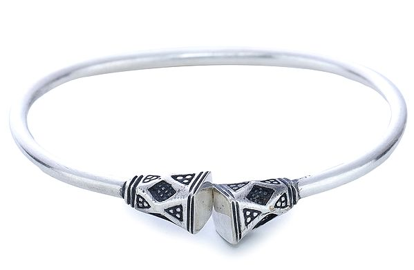 Sterling Silver Bangle Bracelet (Adjustable Size)