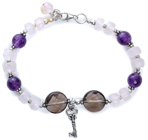 Amethyst, Rose-Quartz and Smoky-Quartz Bracelet with Sterling Silver Beads