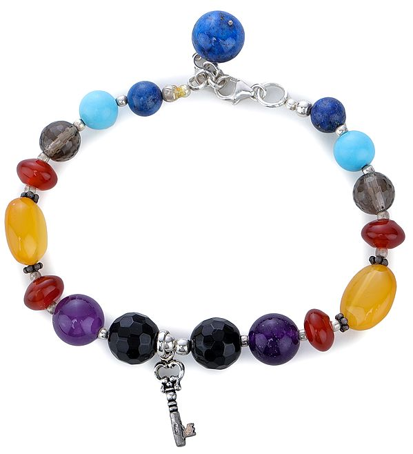 Multi-Stone Bracelet with Sterling Silver Beads