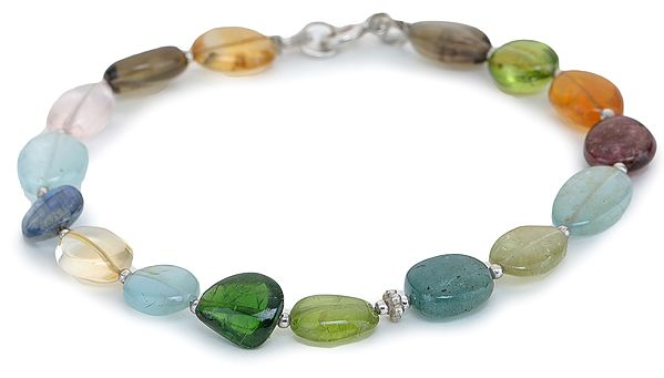 Multi-Color Stone Bracelet with Sterling Silver