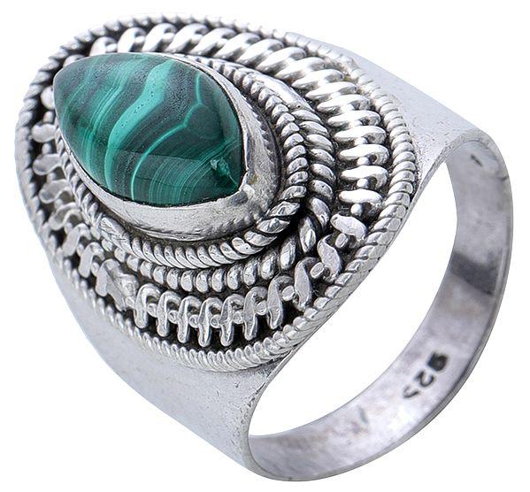 Green Malachite Sterling Silver Ring