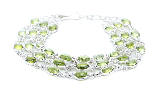 Sterling Silver Chain Bracelet with Oval-Cut  Peridot Stones