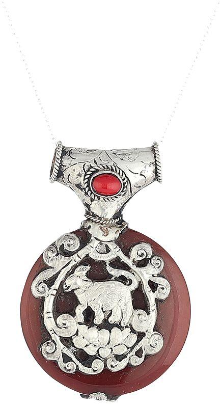 Carnelian Jataka Pendant - Sterling Silver