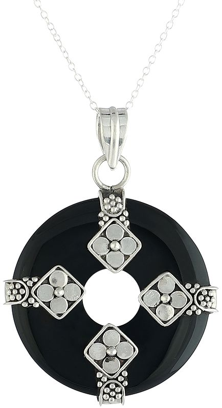 Sterling Silver Pendant with Round Black Onyx Stone