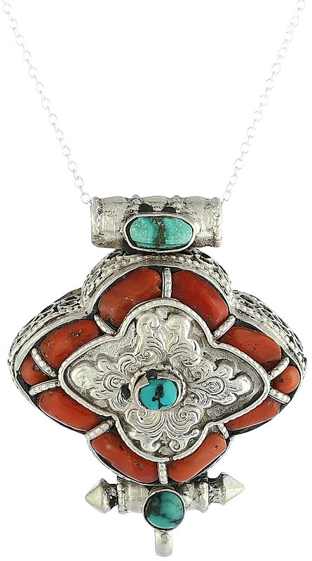 Centered Turquoise with Coral Border Gau Box Pendant