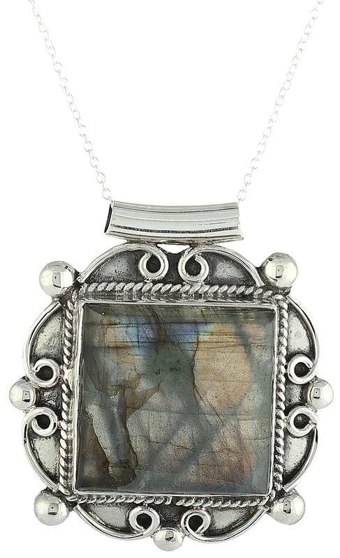 Sterling Silver Pendant with Large Labradorite Gemstone