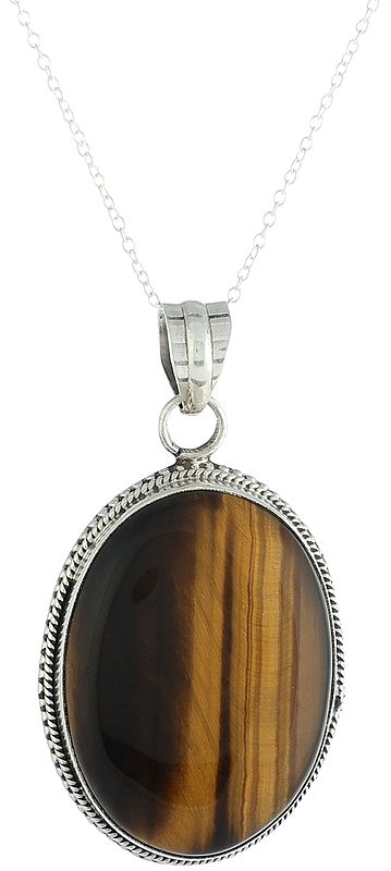 Sterling Silver Pendant with Large Tiger-Eye Gemstone
