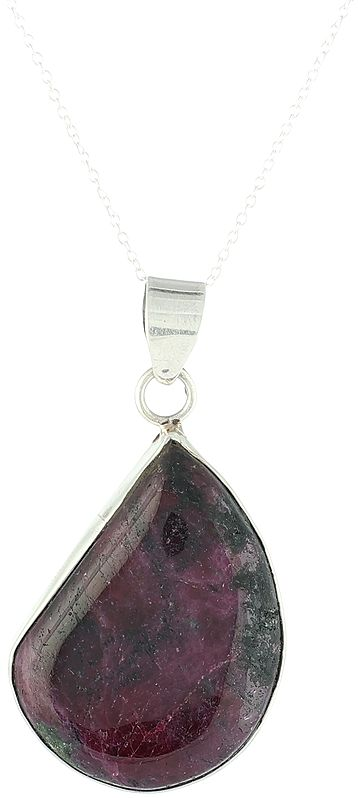 Sterling Silver Pendant with Ruby-Ziosite Gemstone