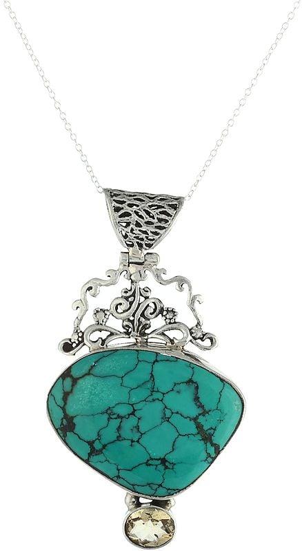 Large Turquoise Gemstone Pendant with Oval Faceted Citrine Gemstone