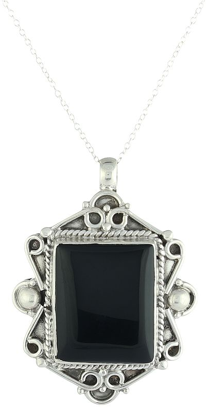 Sterling Silver Pendant with Black-Onyx Gemstone