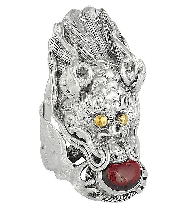 Tibetan Dragon Sterling Silver Ring with Garnet Gemstone