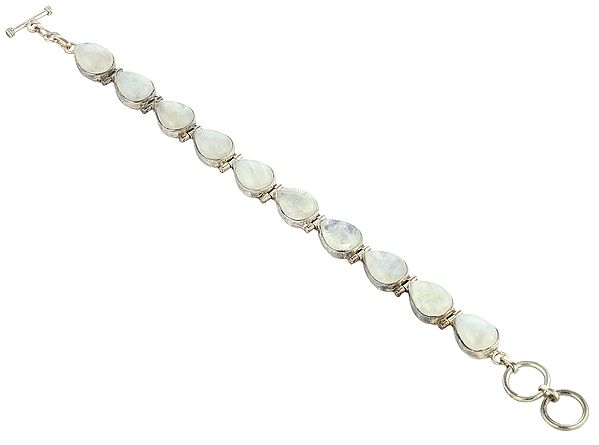 Rainbow-Moonstone Studded Sterling Silver Bracelet