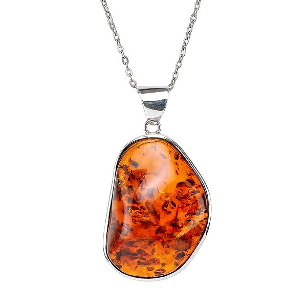 Amber Stone Studded in Sterling Silver Pendant