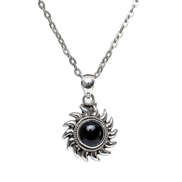 Sterling Silver Sun Pendant with Precious Gemstone