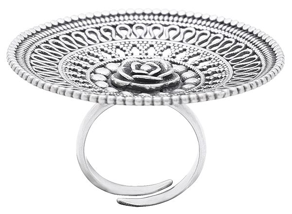 Big Designer Sterling Silver Ring with Flower in Centre