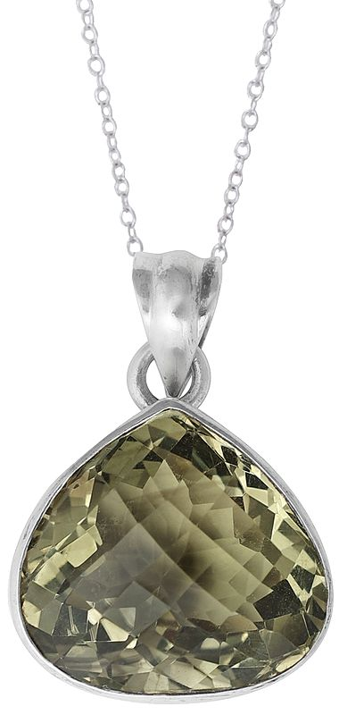 Large Faceted Citrine Stone Studded in Sterling Silver Pendant