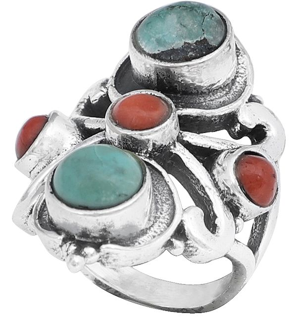 Double Turquoise with Coral Trio Sterling Silver Ring