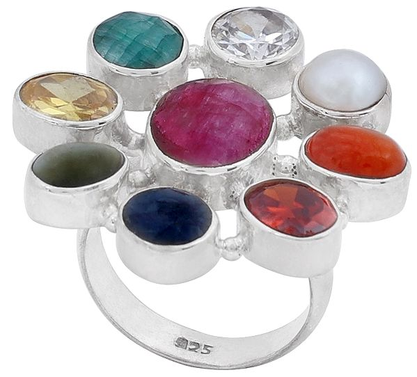 Large Navagraha Gemstone Ring Made in Sterling Silver