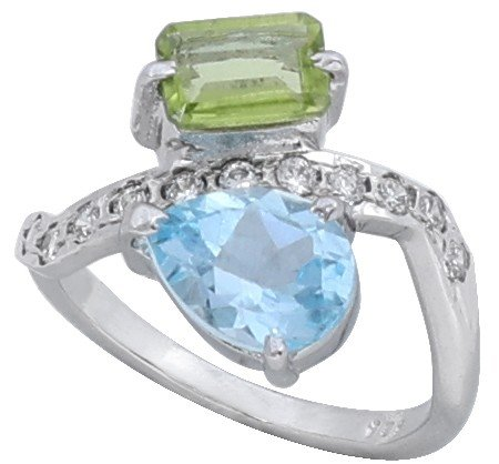 Super Fine Beautiful Ring with Peridot Blue Topaz and Cubic Zirconia